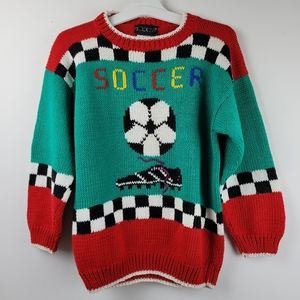 Soccer warm winter knitted sweater youth large